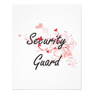 Security Guard Artistic Job Design with Hearts 11.5 Cm X 14 Cm Flyer
