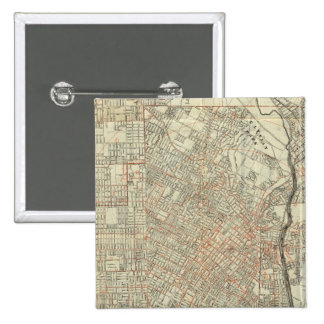 Security map and Street Railways in Los Angeles 15 Cm Square Badge