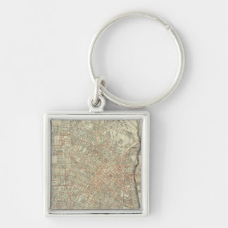 Security map and Street Railways in Los Angeles Silver-Colored Square Key Ring