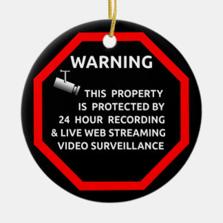 SECURITY STICKER SIGN WARNING SURVELLIENCE CAMERA CHRISTMAS ORNAMENT