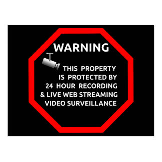 SECURITY STICKER SIGN WARNING SURVELLIENCE CAMERA POSTCARD