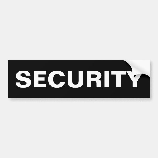 SECURITY - White Logo Bumper Sticker