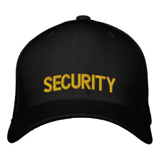 Security Yellow and Black Hat Embroidered Baseball Cap