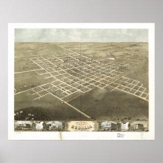 Sedalia Missouri 1869 Antique Panoramic Map Poster