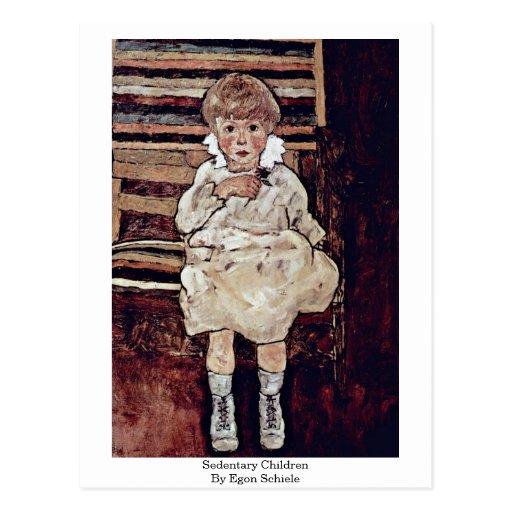 Sedentary Children By Egon Schiele Post Card