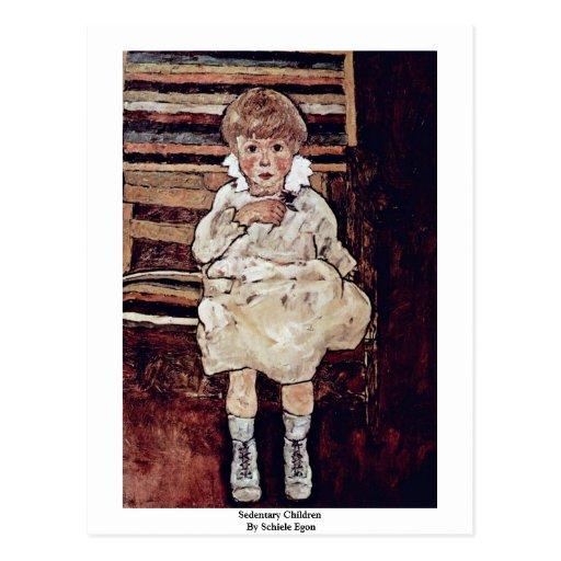 Sedentary Children By Schiele Egon Postcard