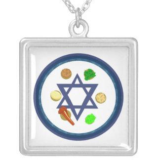 Seder Plate Square Pendant Necklace
