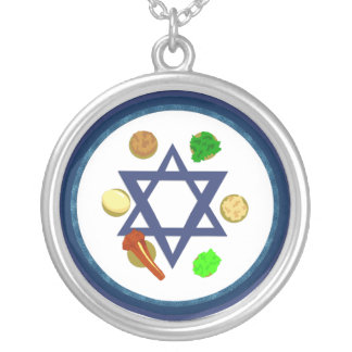 Seder Plate Round Pendant Necklace