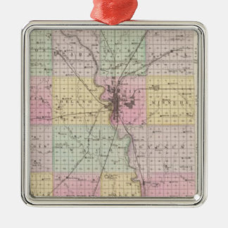 Sedgwick County, Mount Hope, and Derby, Kansas Silver-Colored Square Decoration