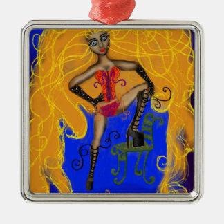 Seductive Sienna Silver-Colored Square Decoration
