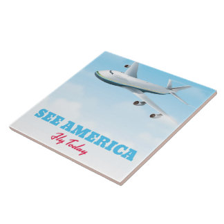 See America - Fly today! Large Square Tile
