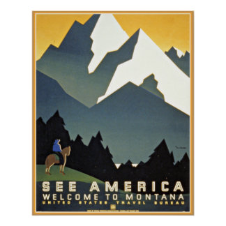 See America Montana Mountains Travel WPA Poster