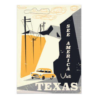 See america - Texas 1950s vintage travel poster Photo Art