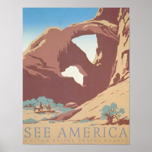 See America Vintage Desert Rock Travel Poster