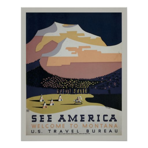 See America Vintage Montana Travel Poster