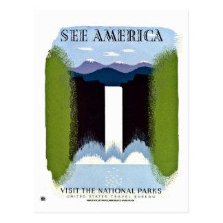 See America Visit National Parks vintage Postcard
