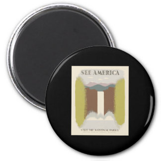 See America Visit The National Parks 6 Cm Round Magnet