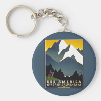 See America - Welcome to Montana Basic Round Button Key Ring