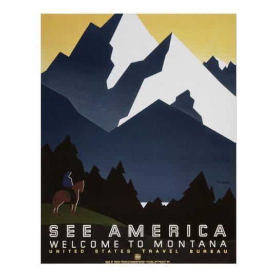 See America Welcome to Montana Poster