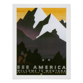 See America Welcome to Montana (white) Poster