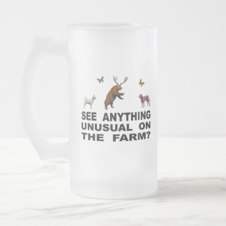 See Anything Unusual On The Farm? Frosted Glass Beer Mug