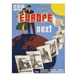 See Europe Vintage Travel Poster Postcard