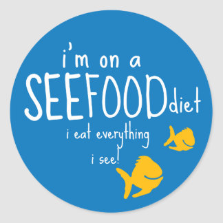 See-food Diet Round Sticker