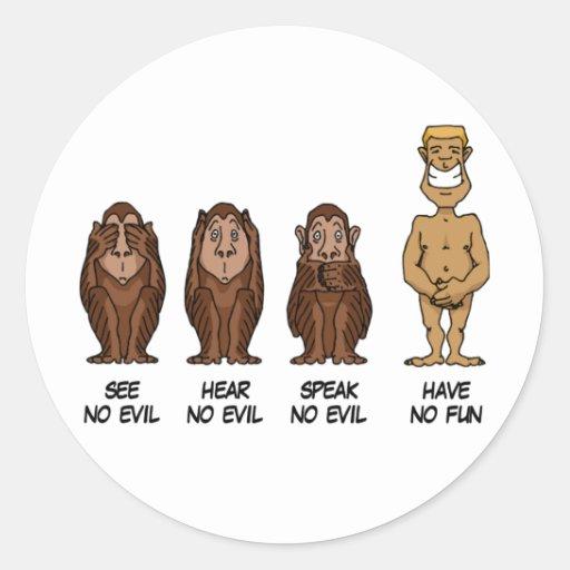 See Hear Speak No Evil Round Stickers