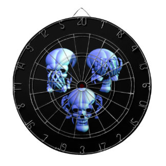 See Hear Speak No Evil Skulls Dart Board