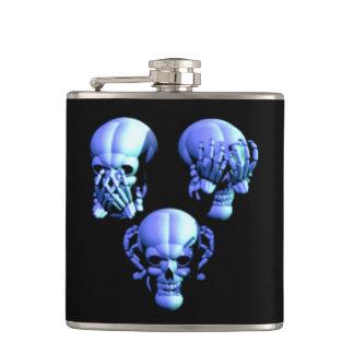 See Hear Speak No Evil Skulls Flask