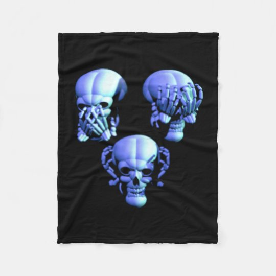 See Hear Speak No Evil Skulls Fleece Blanket