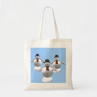 See, Hear, Speak No Evil Snowman Christmas Bag