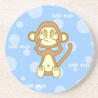 See No Evil - Cute Monkey Cartoon Coaster