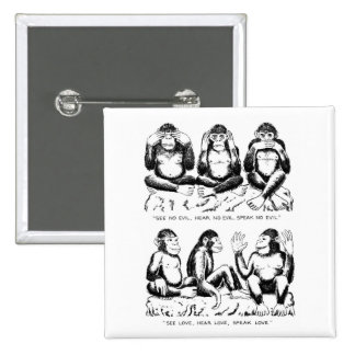 See No Evil, Hear No Evil, Speak No Evil, Rephrase 15 Cm Square Badge