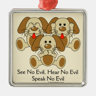 See No Evil Puppies Christmas Ornament