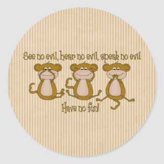 See No Evil Round Sticker