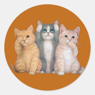 See No Hear No Speak No Evil Cats Sticker Round Sticker