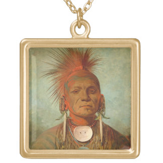 See-non-ty-a, an Iowa Medicine Man, 1844 Gold Plated Necklace