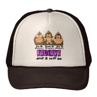 See Speak Hear No Alzheimers Disease 3 Trucker Hat