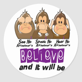 See Speak Hear No Alzheimers Disease 3 Round Sticker