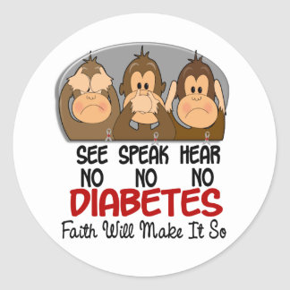 See Speak Hear No Diabetes 3 Classic Round Sticker