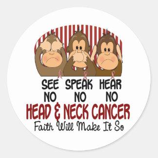 See Speak Hear No Head and Neck Cancer 1 Round Sticker