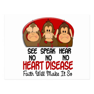 See Speak Hear No Heart Disease 1 Postcard