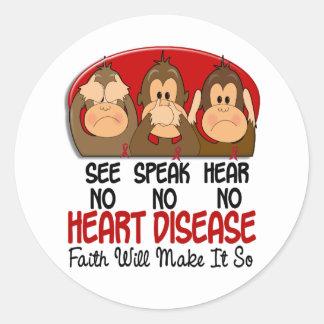 See Speak Hear No Heart Disease 1 Round Sticker
