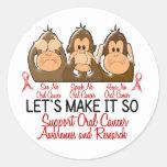 See Speak Hear No Oral Cancer 2 Round Sticker