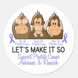 See Speak Hear No Prostate Cancer 2 Round Sticker