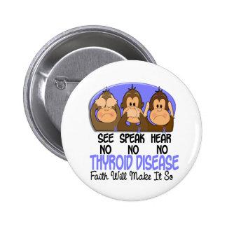 See Speak Hear No Thyroid Disease 1 Pinback Button