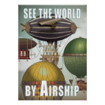 See the World Airship Race Steampunk Travel Print