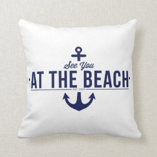 See You At The Beach, Stylish, Vintage Pillow