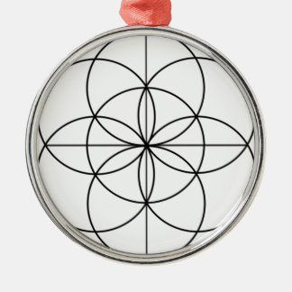 Seed of Life 2 Lines Silver-Colored Round Decoration